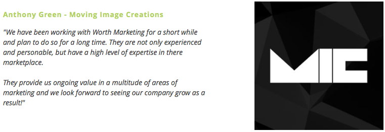 Moving Image Creations Testimonial for Worth Marketing Strategic Social Media Services (Newbury, Reading, Berkshire)